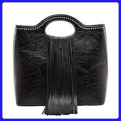 Vieta Grab-n-Go Fringed, Zip-top Tote w/ Strap- Black - Totes (*Amazon Partner-Link)