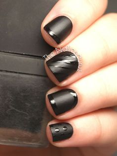 A combo of shiny and matte textures and mix of shapes makes this manicure elegantly eye-catching.  Filed Under:DIY, nails