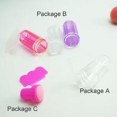 Silicone Nail Art Stamper Scraper with Cap Nail Stamp Stamping Tools