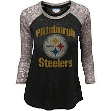 Junk Food Pittsburgh Steelers Women's Distressed Thermal Raglan