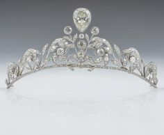 Lannoy Family Tiara The tiara is composed of 270 old-cut brilliants set in platinum, with a diamond in an inverted pear shape superimposed in the centre. A dozen larger brilliants stand out owing to their closed sets, appearing like buttons along the...