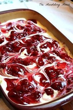 Cherry Cheesecake Surprise Layered Dessert I got this recipe years ago from a friend of mine. I remember thinking that it looked so complicated and tasted so decadent. I was ver. 13 Desserts, Cherry Desserts, Layered Desserts, Cherry Recipes, Cherry Cake, Pudding Desserts, Cherry Cheescake, Cherry Delight Dessert, Strawberry Pie