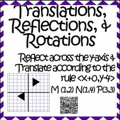 *** This workbook is designed for an 8th grade classroom.  If you are looking for a High School Geometry level workbook that uses vectors and reflects along the line y=x please visit High School Geometry Transformations Workbook with QR Codes ***This 12 page workbook has 22 problems to strengths students skills on Translations, Rotations, Reflections, & Dilations.