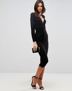 ASOS Bodycon Deep Plunge Ruched Midi Dress  - #workparty #workpartyholiday  #holidaydresses #affiliatelink #rewardstyle