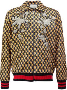 Gucci embroidered geometric bomber jacket