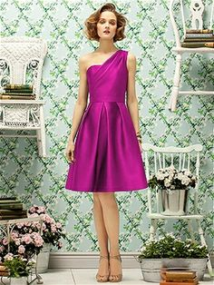 Cocktail length one shoulder gazar dress with pleated full skirt and  pockets at side seams. 153c390aa0e2