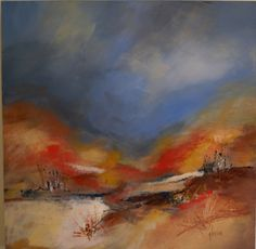 Desert Scape V  contemporary abstract mixed media acrylic landscape