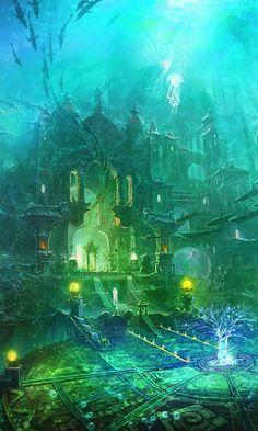 Fantasy Underwater City. The Underwater Castle Gate and its Garden