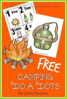 FREE camping do a dots for preschoolers!