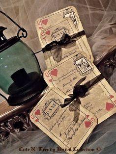 Alice In Wonderland Wedding Invitation Playing Card By CuteNtrendy