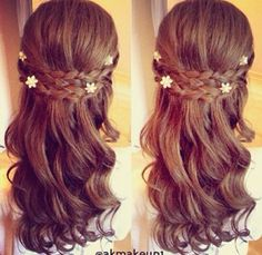 Braided half up prom hairstyle