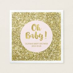 Shop Mint Gold Glitter Confetti Oh Baby Baby Shower Paper Napkins created by DreamingMindCards. Personalize it with photos & text or purchase as is! Mint Gold, Blush And Gold, Blue Gold, Mint Green, Sparkle Baby Shower, Gold Baby Showers, Baby Shower Napkins, Baby Shower Parties, Gold Paper