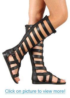 Qupid AI83 Women Leatherette Strappy Gladiator Knee High Flat Sandal - Black
