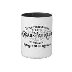Vintage französische Anzeige Zweifarbige Tasse