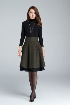 short skirt wool skirt winter skirt layered skirt plus by xiaolizi