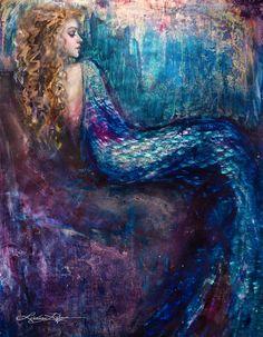 """Elizabethan Mermaid"" Paint Texture Print"