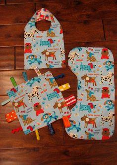 Doggie Bib Burp Cloth and Tag Toy Gift Set by ToTheMoonAndBackNC, $21.00