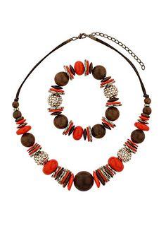 Coral bead jewellery set