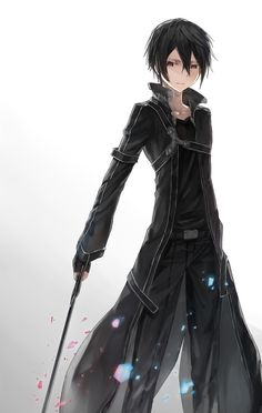 Nico di Angelo anime style -Other person Me: *face palm* That's Kirito from Sword Art Online. Arte Online, Kunst Online, Online Art, Sword Art Online Kirito, Espada Anime, Anime Quotes Tumblr, Anime Body, Hot Anime, Anime Pokemon