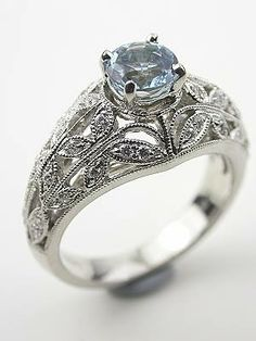 Antique Style Aquamarine and Filigree Engagement Ring