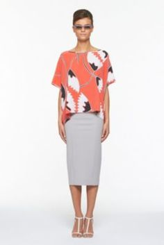 DVF | New Hanky Top In African Tulip Deep Coral, Spring 2012: Beginnings
