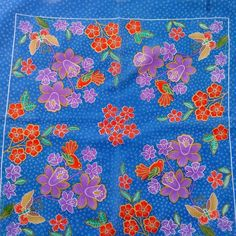 "Vintage Sheer Bright Blue 20.5"" Square Scarf Butterflies Birds Floral Japan #Unbranded #Scarve"