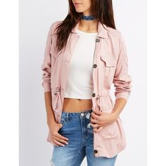 Charlotte Russe Lightweight Anorak Jacket ($39) ❤ liked on Polyvore featuring outerwear, jackets, blush, light weight jacket, pink jacket, charlotte russe jackets, twill anorak jacket and zipper jacket
