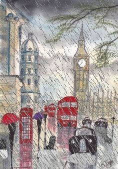 London in The Rain (london,rain,gif,art,vintage,design,beautiful,unbrella,its raining cats and dogs,weather,clouds,water @Shelby Hemenway