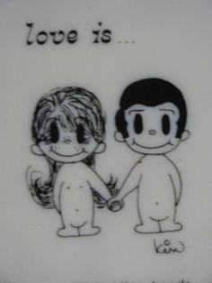 "1970 Love Is Boy and Girl Wall Hanging Picture, Black  White, S""till holding hands after many years of marriage"""