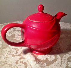 Vintage Hall Teapot Moderne Chinese Red 20.00 by vintagepoetic on Etsy