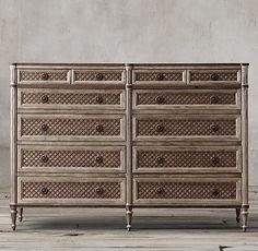 "UP FRONT BEDROOM - (1) RH, Louis XVI Treillage 12 Drawer Dresser, #63560024 NATL... 71""W x 22""D x 50""H  FINISH: Weathered Pine...$2246 member"