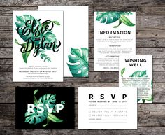 Tropical Wedding Invitation Suite, White, Green, Typographic, Typography, Wedding Suite, Modern, Palm, Summer, Script, Beach (Intertwined) by FrankieBearDesigns on Etsy Rehearsal Dinner Invitations, Wedding Invitation Suite, Invitation Cards, Wedding Suite, Invites, Our Wedding, Destination Wedding, Wedding Bells, Wedding Ideas
