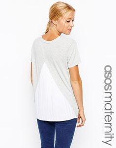 ASOS Maternity Exclusive T-Shirt With Pleated Chiffon Back