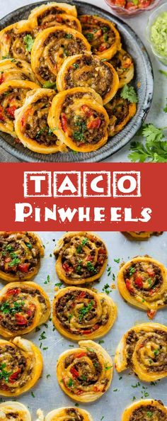 Oh Taco Pinwheels, I can't stop, wont stop!! All you need is puff pastry, taco meat, tomatoes and cheese plus a few bowls of toppings like guacamole! via @ohsweetbasil