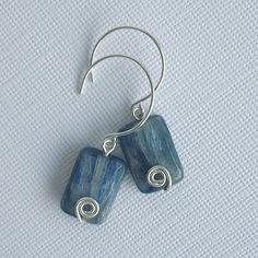 Sterling Silver Spiral Blue Kyanite Earrings - Perfections.com
