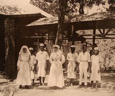 File:White nurses of the Union Minière du Haut Katanga April Congo Free State, Congo River, Violet Brown, Giraffe Family, Belgian Congo, Wild Elephant, Okapi, Tree Trunks, White People