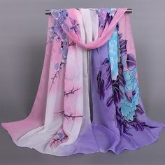 Fashionable Peony Wintersweet and Bird Pattern Scarf For Women