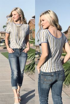 LuLaRoe classic tee worn backwards to create a scoop back tee. I'm all about the vertical stripes right now! Click to shop LuLaRoe and for more style inspiration and giveaways!