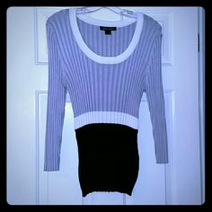 """Black, white, & grey Colorblock sweater Excellently pre-loved! Beautiful ribbed, 3/4 length sleeve medium weight sweater. Great for Spring and offices. Can be worn alone or under a jacket/blazer. Stretches out for a classic and professional look. Worn twice and dry-cleaned (my preference!). Shoulder to hem length is 27"""". Ashley Stewart Tops"""