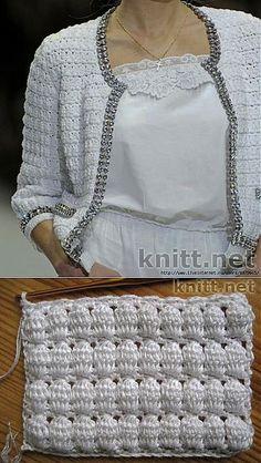 Bilderesultater for burda chanel jacket pattern Simple top crochet pattern in easy way >> 900 crochet design patterns scoop it Pull Crochet, Gilet Crochet, Mode Crochet, Crochet Coat, Crochet Cardigan Pattern, Crochet Jacket, Crochet Blouse, Crochet Clothes, Crochet Stitches