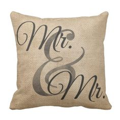 Mr and Mr Homosexual Burlap Wedding ceremony Personalised Throw Pillow. >> Find out even more at the picture