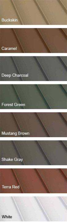 Clicklock Standing Seam Metal Roofing colors. I love the green or red for my log house.: