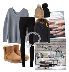 """""""winter love"""" by rebecca-laroche ❤ liked on Polyvore featuring UGG, The Row, Eichholtz, Floss Gloss, Forever 21, Parajumpers, Tiffany & Co. and Chicnova Fashion"""