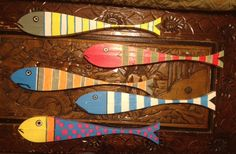 Wood fish art, whimsical fish, hand painted on both sides.   http://sherrylcook.com