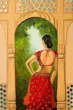 Royal Bride by Archana Doddi Rajasthani Painting, Rajasthani Art, Indian Women Painting, Indian Art Paintings, Horse Paintings, Pastel Paintings, Art Painting Gallery, Mural Painting, Painting Tips