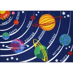 This Fun Rugs Fun Time Solar System rug is the perfect addition to your budding astronomer's room. In multi. Solar System Design, Solar System For Kids, Classroom Carpets, Blue Accents, Indoor Rugs, Cool Rugs, Blue Area Rugs, Good Times, Aurora