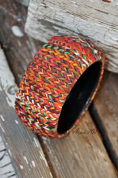 Faux knitted bangle made from polymer clay by Anna Krichevskaya.