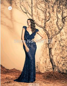 Ziad Deep V Neck Appliqued Flower Mermaid Evening Party Dresses