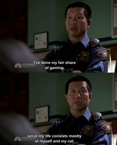 Sgt. Wu - Grimm (he is just SO FUNNY!) I wish we would see more of him :)