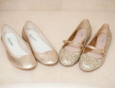 Photos of gold - champagne coloured glittery flat shoes.jpg